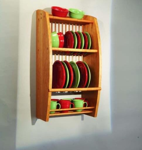wooden wall mounted plate rack
