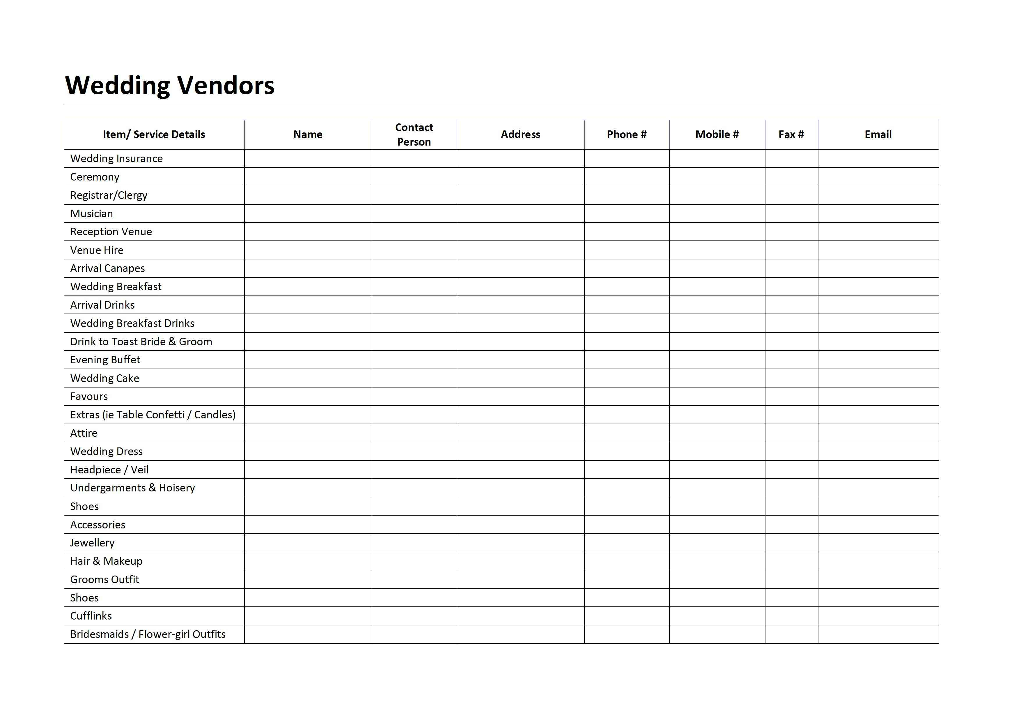 Wedding Planner Wedding Checklist Vendor