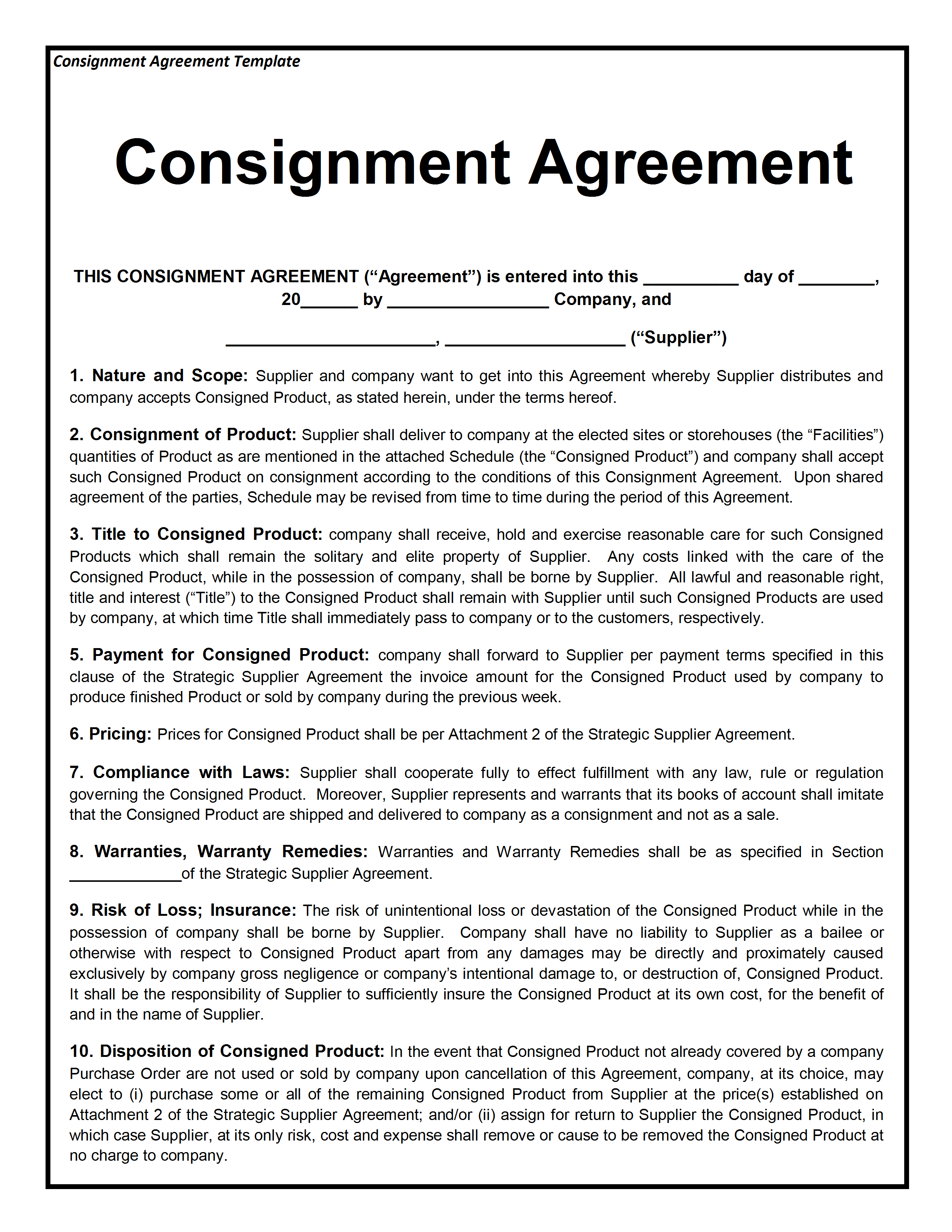 Consignment Contract Template