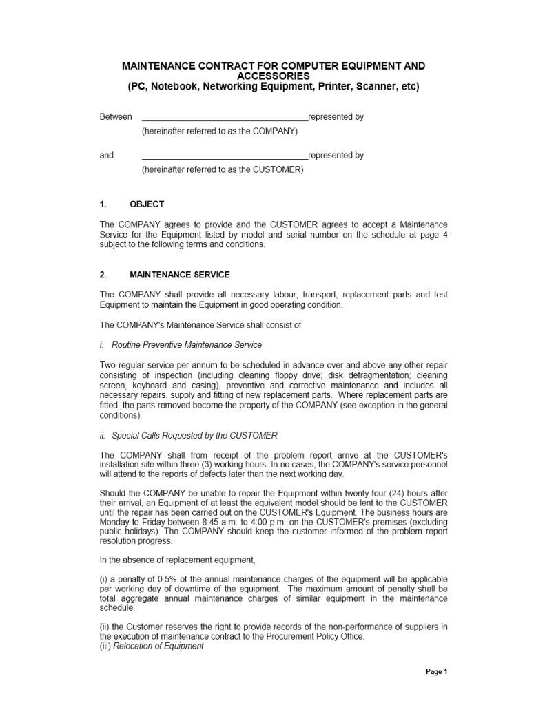 maintenance contract template freewordtemplates net