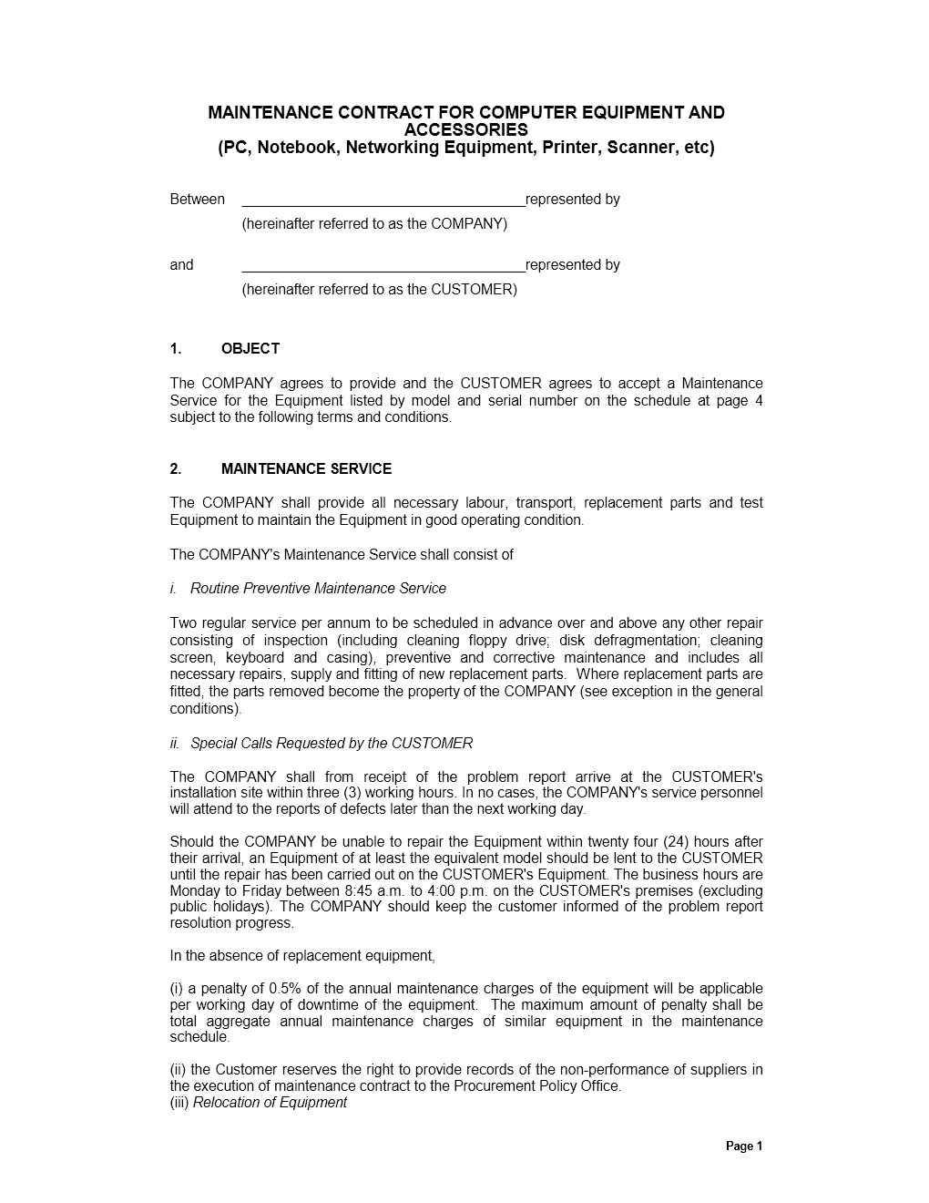 doc575709 sample maintenance contract maintenance contract sample maintenance contract. Resume Example. Resume CV Cover Letter