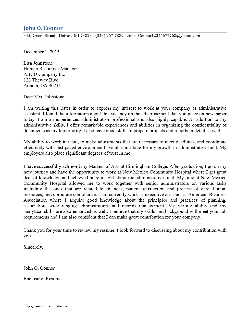 administrative assistant cover letter freewordtemplates net