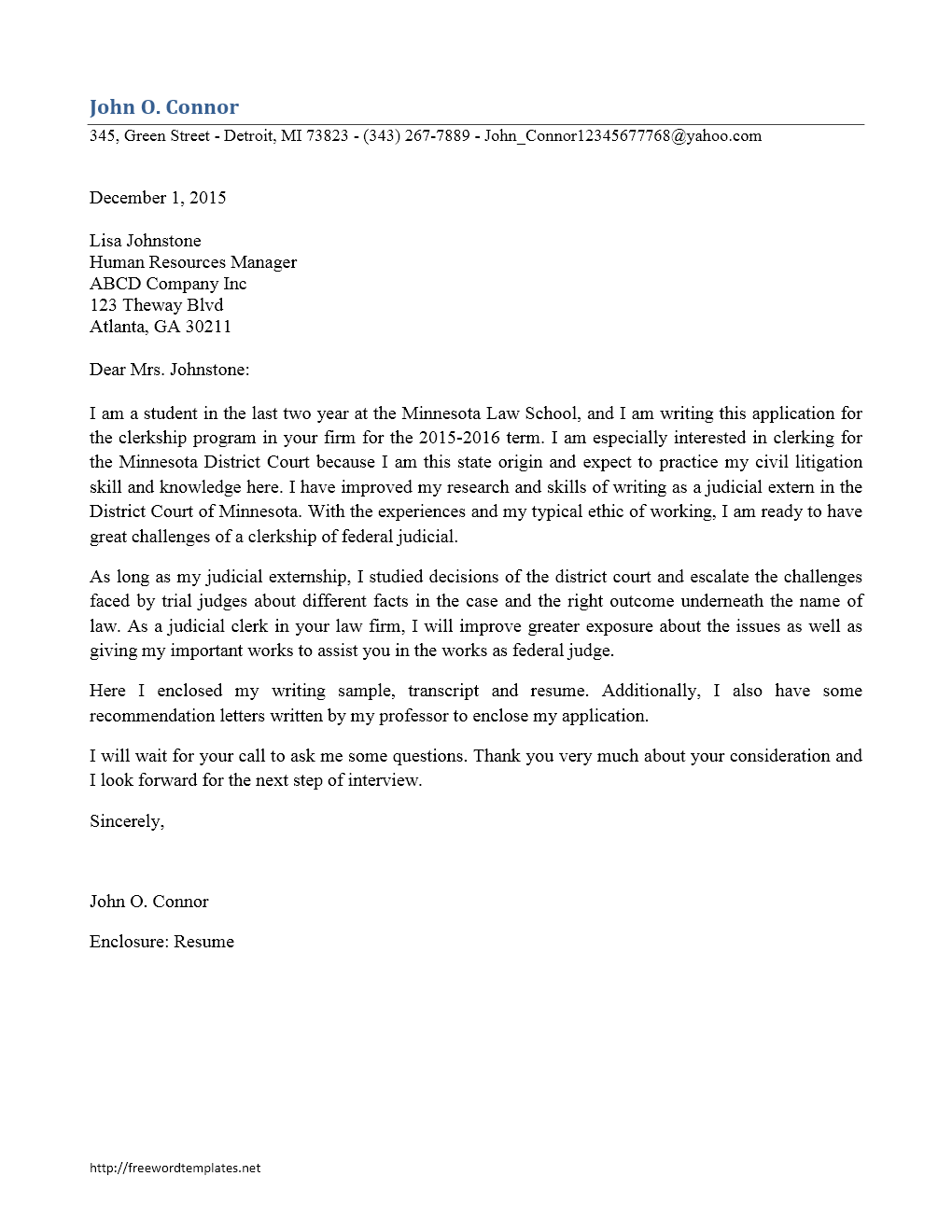 law clerk cover letters