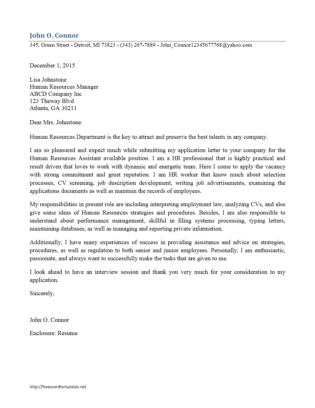 cover - Cover Letter To Hr Department