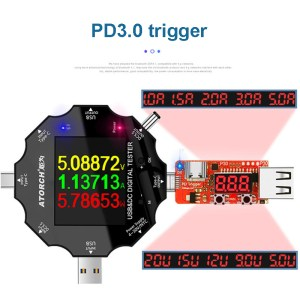 MUSTOOL UD18 USB3.0 / DC / Type-C 18 in 1 USB-Tester Bluetooth APP + PD3.0 Trigger