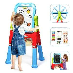 Kids Double Sided Boards Easel Magnetic Painting Art