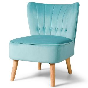 Soft Velvet Accent Chair with Oyster Shaped Back