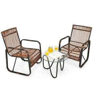 3Pcs Rattan Wicker Rocking Bistro Set with Glass Table