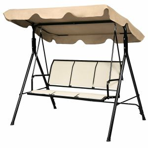3 Seater Garden Swing Chair with Adjustable Canopy