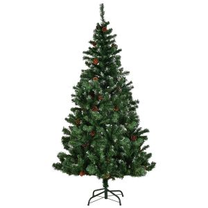 5ft Artificial Christmas Tree with Snow and Pine Cones with Metal Stand