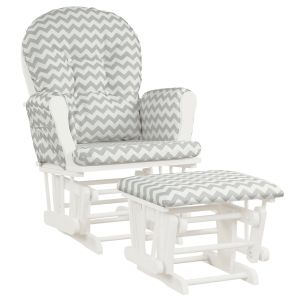 Wooden Glider Chair with Padded Cushions and Footstool
