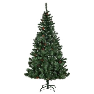 6ft Artificial Christmas Tree with Snow and Pine Cones