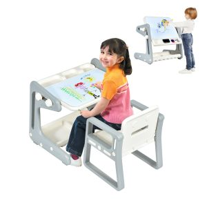 Kids Table and Chair Set Art Easel Study Desk Magnetic