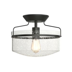 Retro Styled Ceiling Lamp with Seeded Glass Shade (E27 Bulb)
