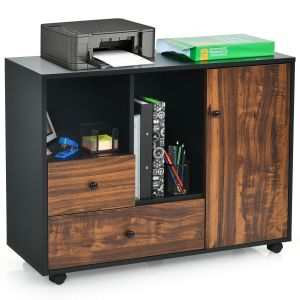 Large Cabinet Printer Stand with 2 Drawers Open Shelves