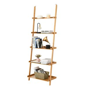 5-Tier Ladder Bamboo Wall-Leaning Display Shelf
