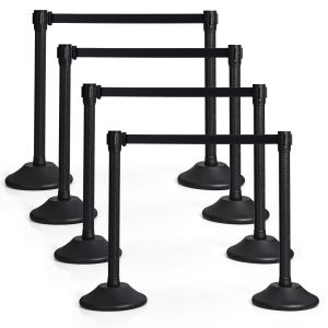 6Pcs Polished Steel Queue Rope Barrier