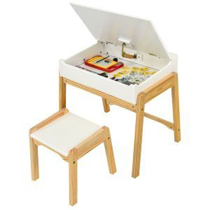 Children's Wooden Lift-up Table and Chair Set