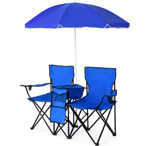 Portable Double Camping Chair with Umbrella & Ice Bag