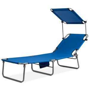 Folding Sun Lounger with Adjustable Shade Canopy
