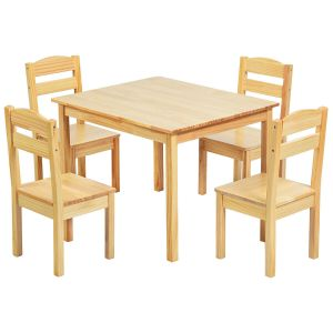 Set of Wooden Kids Table and 4 Chairs