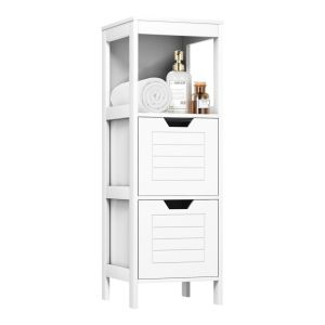 Wooden Side Storage Bathroom Organiser with 2 Switchable Drawers