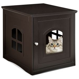 Decorative Cat House Side Table with Window