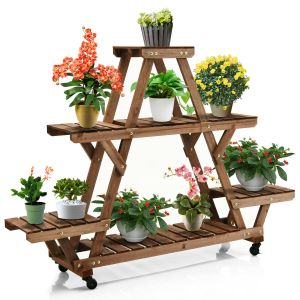4 Tier Wooden Plant Stand / Flower Display Stand with Optional Casters