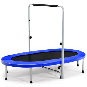 Double Foldable Fitness Trampoline with Adjustable Handrail