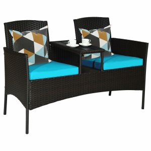 Rattan Loveseat with Drinks Table
