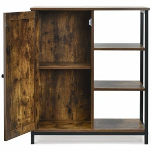 Industrial Styled Freestanding Storage Cupboard with 3 Side Shelves