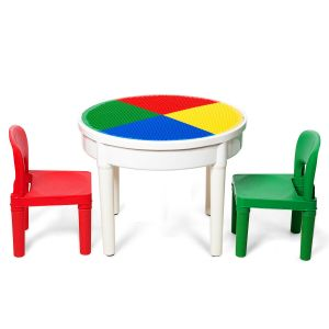 3 in 1 Children's Activity Table and Chair Set with Blocks