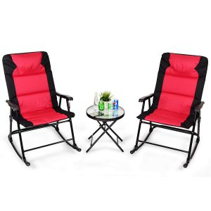3 Pcs Folding Bistro Set Outdoor Rocking Chairs and Table Set