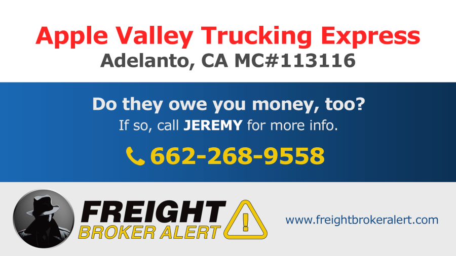 Apple Valley Trucking Express Inc California