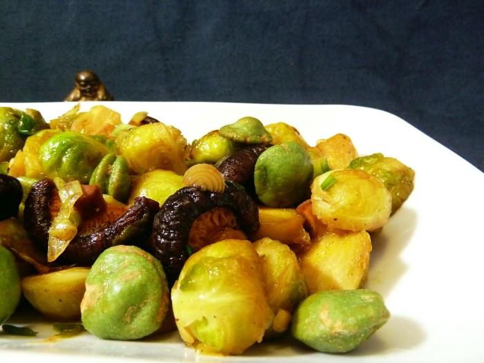 Rosenkohl | Shiitake Pilze|Wasabi Erdnüsse