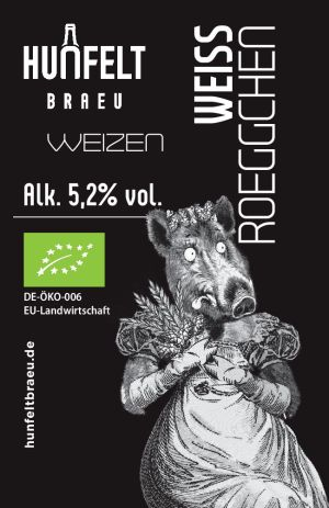 HUNFELT BRAU WEISS-ROEGGCHEN 330 ml, 5,2% vol.