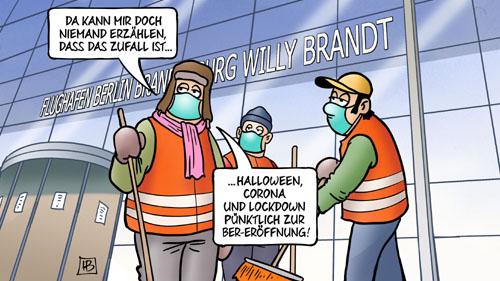 BER-Flughafen-Eröffnung trifft auf Halloween und Lockdown...