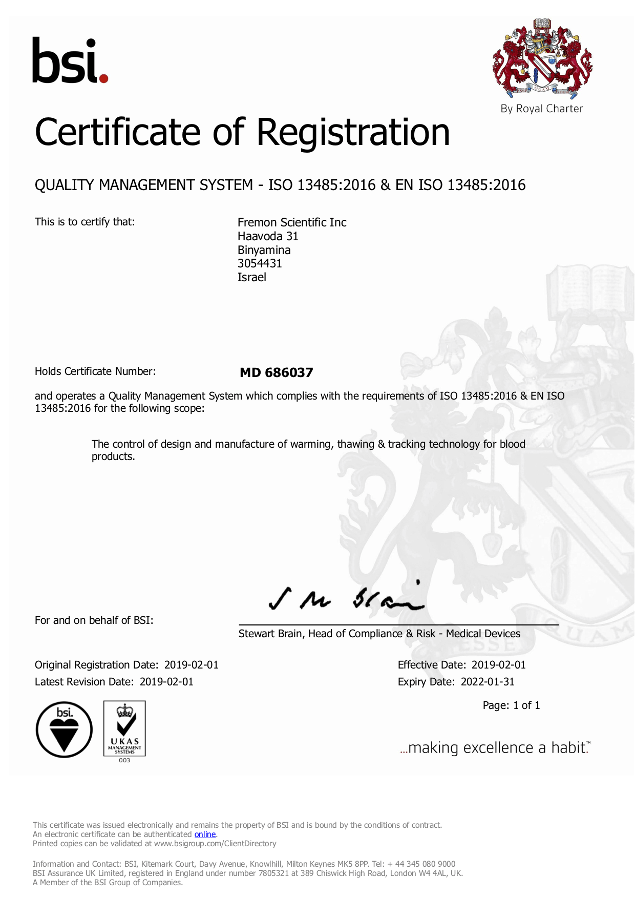 ISO Certificate MD 686037