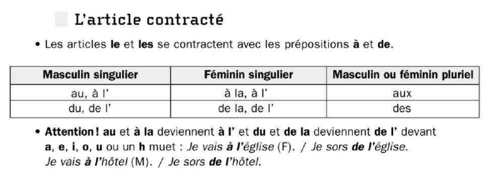 French grammar - Article contracte