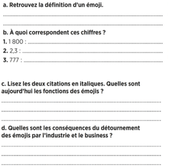Comprehension French text and questions