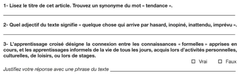 French text practice questions