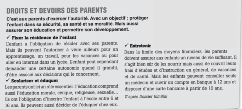 reading Comprehension DELF A2 Parents Enfants