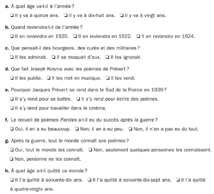 Questions French comprehension