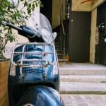 Midnight Blue Vespa Scooter In Paris