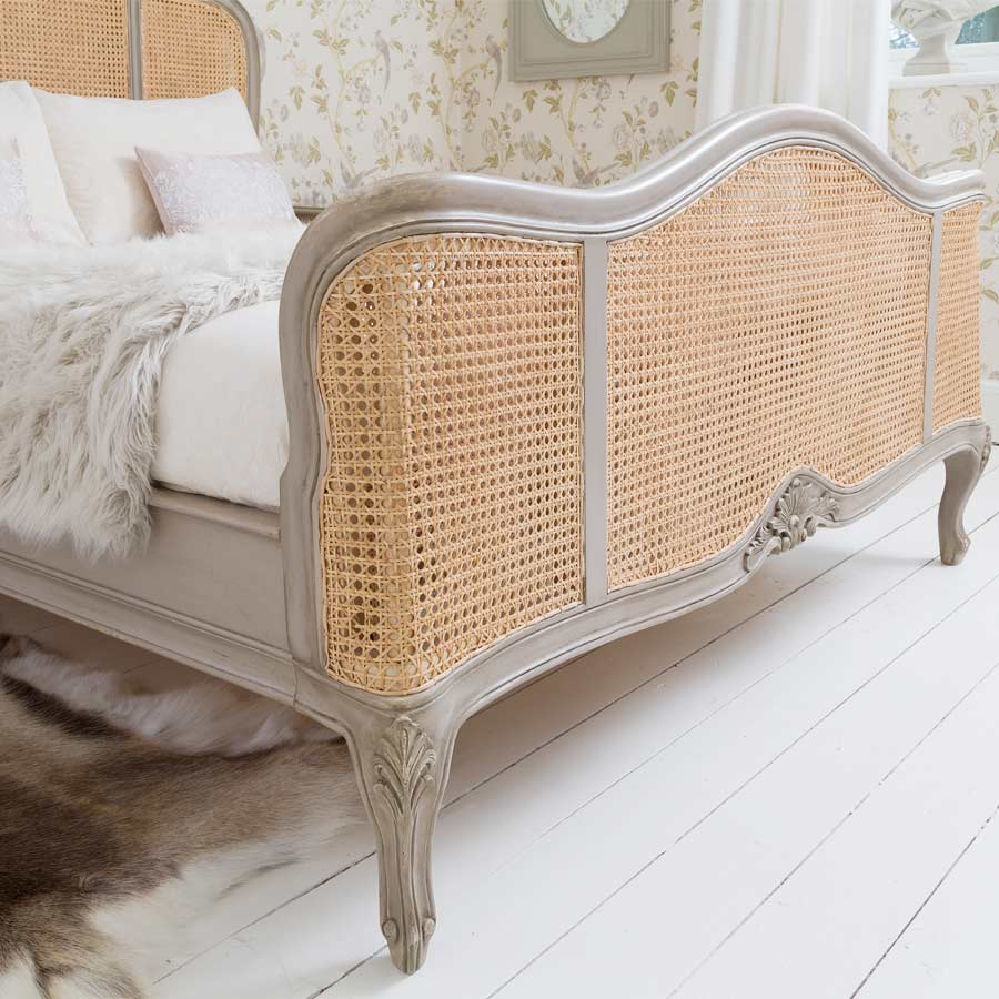 Normandy Rattan Painted Luxury French Bed King Size Bed