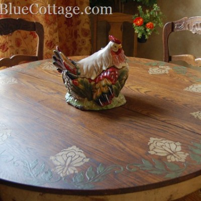 Custom plaster design on a beautiful, old table