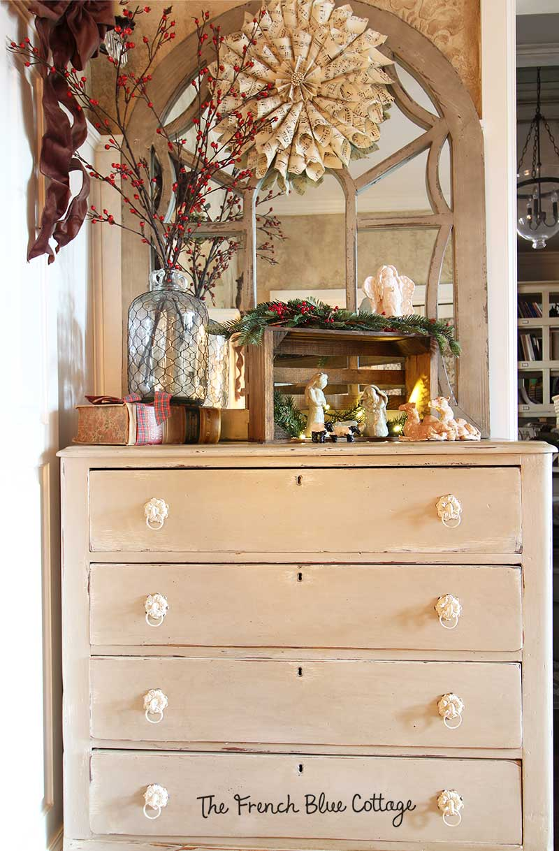 Antique dresser in the entry for Christmas.