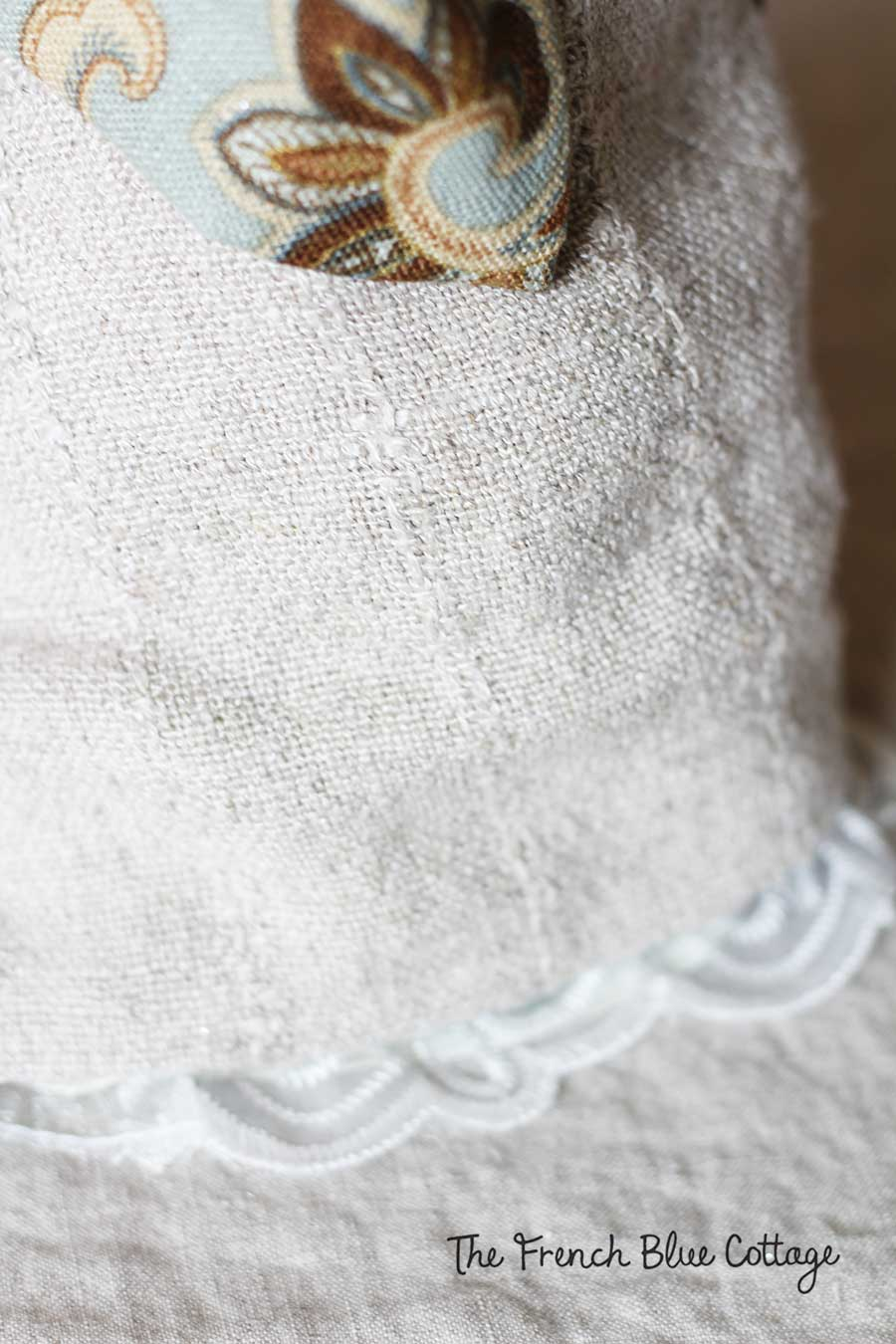 Tree angel linen skirt with lace trim.
