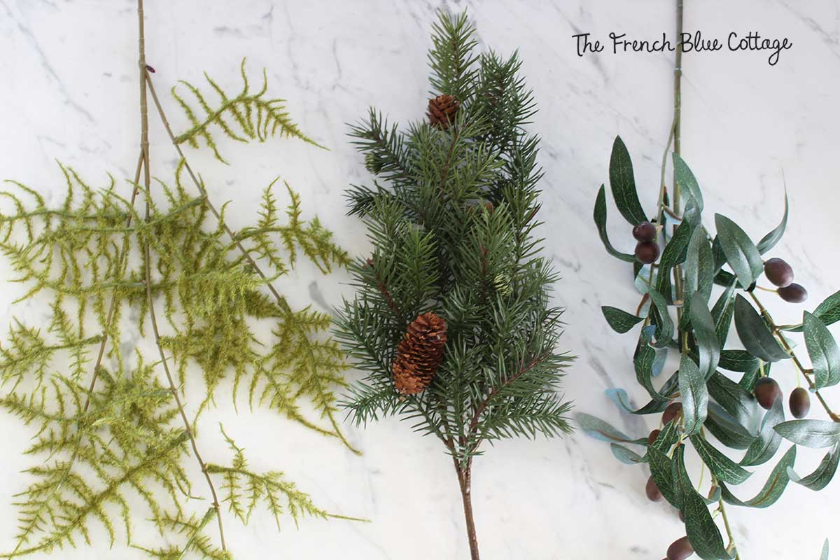 Winter greenery stems for wreath.