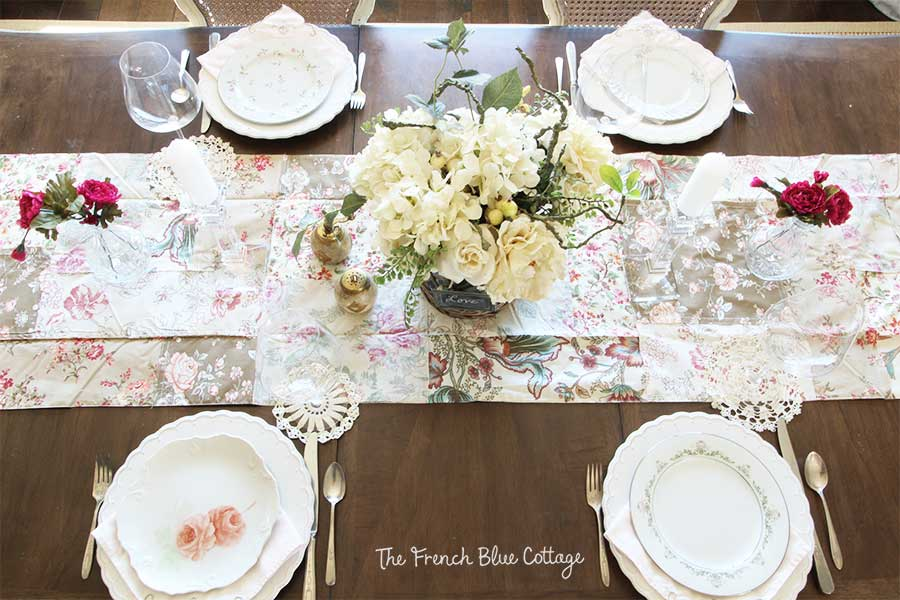 Valentine's table with mismatched china
